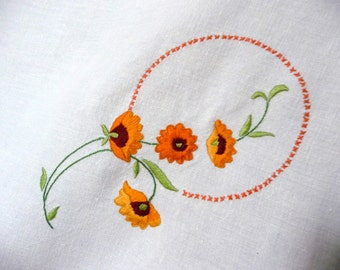 Vintage Hand Embroidered Crocheted Linen Tablecloth