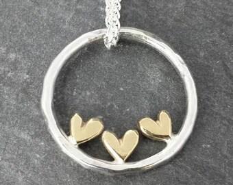Complete Sweetheart - multile 9ct 14ct gold heart pendant - minimalist, modern, wedding jewellery, made in uk