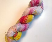 Mountain flowers on Max 80/20 SW Merino Nylon Hand dyed fingering weight sock yarn