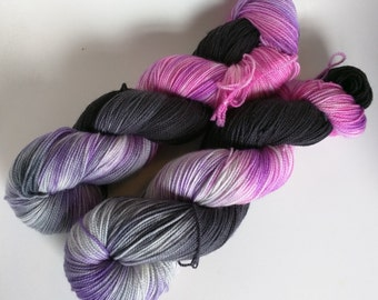 Kitty on Max 80/20 SW Merino Nylon Hand dyed fingering weight sock yarn