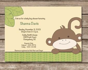 Monkey Baby Shower Invitation Expecting Pregnant Party Banana Digital File Print Printable