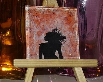 Radiance of Raven Hand Painted Glass Art