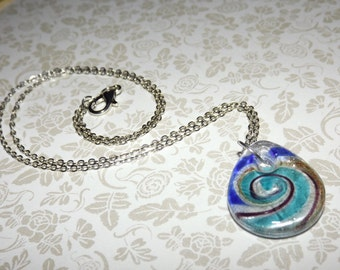 Teal Cobalt Swirl Glass Pendant Necklace