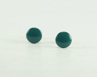 TEAL Stud Earrings  - Teal Earrings - Teal Ear Studs - Teal Earrings Stud - Surgical Steel Post Earrings - Gift Ideas - 4mm / 6mm / 8mm