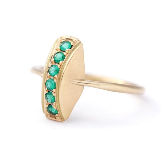 emerald ring pave emerald ring 18k solid gold by artemer