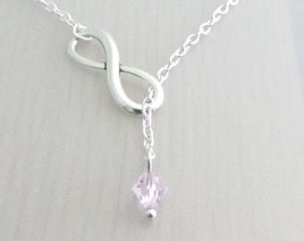 Infinity Charm Lariat Necklace, Pink Crystal Silver Plated Necklace, Eternity Necklace, Pink Rosaline Swarovski Crystal, Valentines Gift