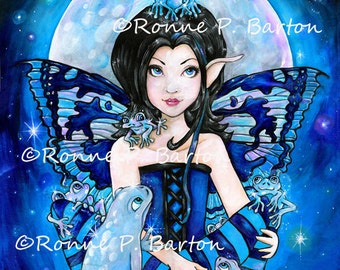 Moon Frogs cute cartoon gothic fairy big eye fine art LE art trading card aceo atc PRINT