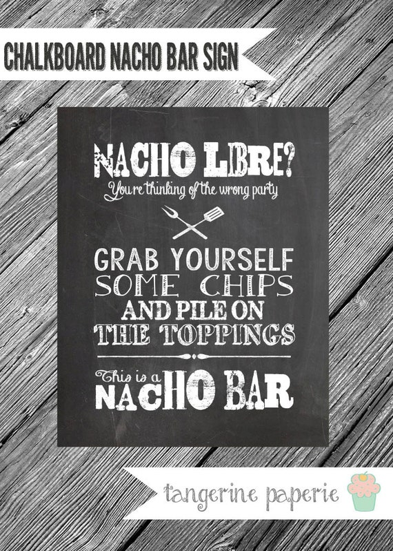 Instant Download 8x10 Chalkboard Printable Nacho Bar Sign