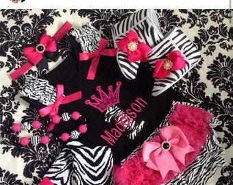 Zebra Print  Baby Crib booties and Matching headband set