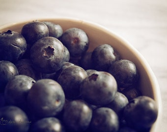 Food Photography, Kitchen Wall Art, Farmhouse Decor, Blueberry Photograph, Fruit Picture, Berries  | 'Blueberry Bowl'