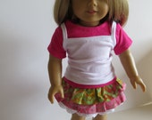 American Girl Doll Clothes, Doll Three Piece Ruffled Skirt Outfit, Pink skirt Outfit