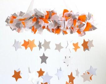 Orange Gray Nursery Mobile- Star Baby Mobile in Orange Gray & White- Neutral Nursery Decor, Baby Shower Gift, baby Mobile