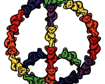 Grateful Dead Dancing Bears Peace Sign Hippie Rock Icon Iron On Applique Patch
