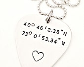 Personalized Guitar Pick Coordinates Necklace - Custom Latitude Longitude Mens Jewelry - Stainless Steel - Music Lover Location with Heart