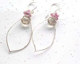 Sterling Silver, Pink Tourmaline & Smoky Quartz Wrapped Leaves Earrings