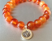 manifestation. red aventurine gemstone bracelet fine silver lotus