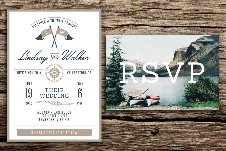 Lake Themed Wedding Invitations: Lake Wedding Invitation & Vintage Postcard RSVP // By