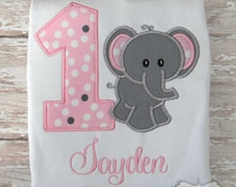 Elephant Birthday Shirt or Bodysuit Embroidered Pink & Gray
