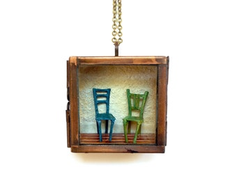 "Two Chairs: Miniature Room Pendant No. 5 - 2""x2"" Miniature Shadowbox Pendant"