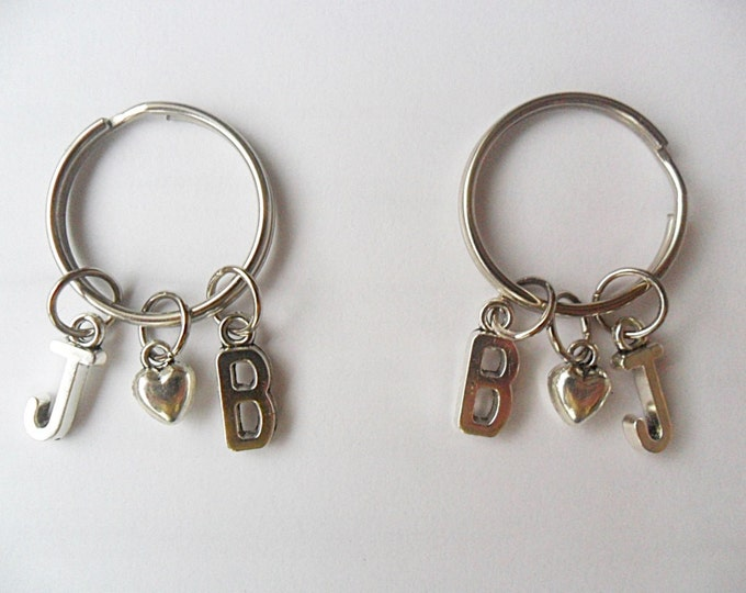 Best Friend Keychains 2 Initial best friend keychains with heart (pick your own letters)