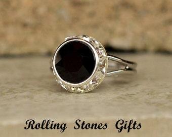 Jet Black 12mm Swarovski Xirius Surrounds Rhinestone Adjustable Ring-Jet Black Crystal Adjustable Ring-Crystal Stone adjustable Ring