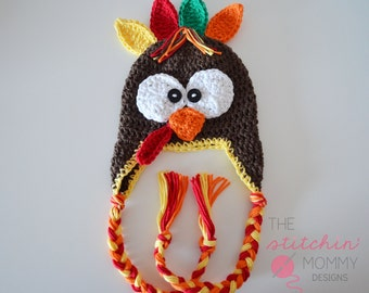 PDF Crochet Pattern - Crochet Turkey Hat in Several Sizes