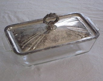 Vintage Fire King Loaf Pan Casserole Dish with Silver Plate Lid