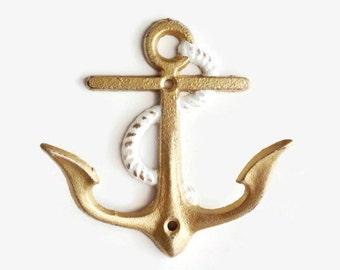 Gold Anchor Decor. Anchor Hooks. Anchor Bathroom Decor. Pool Towel Hanger. Nautical Wall Decor. Nautical Nursery. Shabby Chic Beach Hook