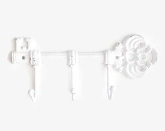Decorative Wall Hook, Skeleton Key Jewelry Rack, Realtor Closing Gifts, White Wall Decor, Coat Rack, Towel Hanger, Entryway Organizer