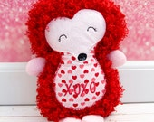 Hedgehog Rag Doll Plush - XOXO - Ready To Ship - Valentine's Plush Doll