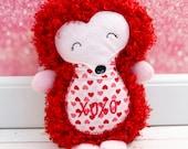 Hedgehog Rag Doll Plush - XOXO - Ready To Ship - Valentine's Plush Doll