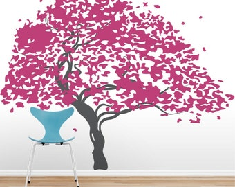 Japanese Maple Tree Vinyl Wall Decal - Nature Wall Decal, Living Room Wall Decal, Tree Wall Sticker, Falling Leaves, Japanese Maple Tree