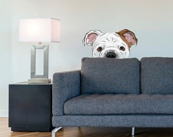Peekaboo Bulldog Printed Wall Decal - Bulldog Sticker, Bulldog Lover, Gifts For Dog Owner, Bulldog Owner, Dog Wall Decal, Dog Wall Decor