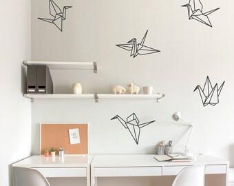 Origami Cranes Wall Decal - Paper Crane Art, Paper Crane Decal Sticker, Origami Decal, Origami Wall Art, Origami Crane Art, Crane Decal