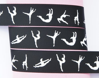 "10Yd White Gymnastics 7/8"" Black Grosgrain Ribbon Craft/Scrapbook"