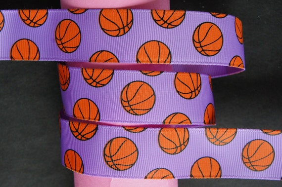 "10Yd Basketball Pattern 7/8"" Lilac Grosgrain Ribbon"