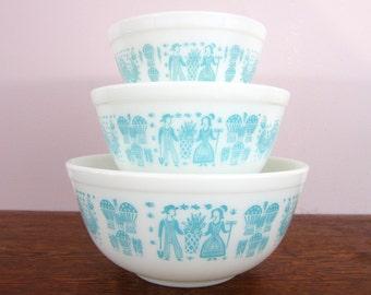 3 Vintage Pyrex Butterprint Mixing Bowls, Turquoise Amish Butterprint, Aqua & White 403 402 401