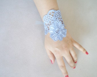 Blue Wedding Bracelet, Cuff, Wedding Jewelry, Accessories, Bridal Bracelet, flower girl, lariat jewelry, bridesmaid gifts