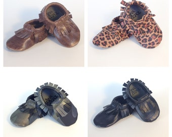 Children's Leather Moccasins-Fringed moccasins- Handmade- Custom Slippers
