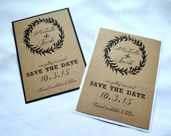 Save the Date Cards kraft save the dates kraft black wreath save the date card kraft white save the date wedding save the date wreath cards