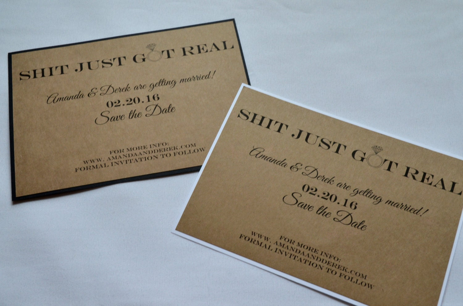 rustic save the dates postcards