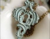Aqua Key Hole Necklace