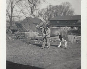 Lady in Spring - Vintage 1940s Man and Horse  Photograph