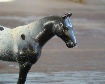 An Appaloosa Champ - Vintage Midcentury Enamel Painted Metal Horse Trophy Topper, Imperfect