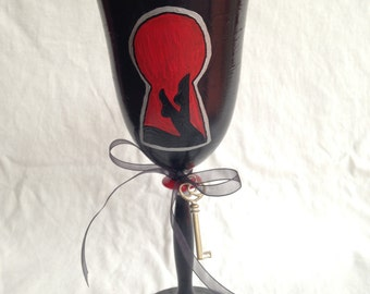 "Fifty Shades of Grey ""Play Room"" Inspired Hand Painted Wine Glass"