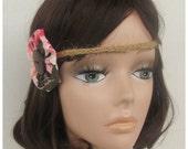 Pink and Brown Boho Headband, Hemp Headband, Hair Accessories, Hippie Headband, Flower Child Headband, Braided Headband, forehead headband
