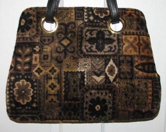MR. MART CHENILLE Purse // Carpet Bag 60's Hipster Retro Black Gold Brown Double Strap Geometric 70's Hangbag Floral Flowers