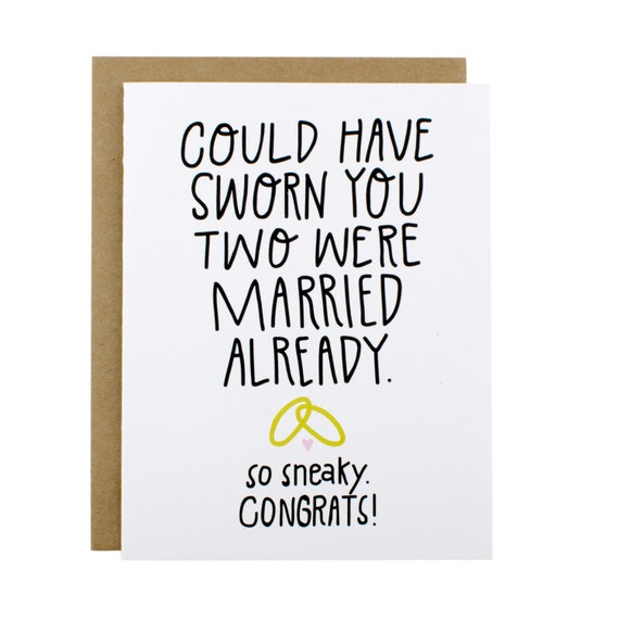 Funny Wedding Card Funny Bridal Shower Card By HenPenPaperCo