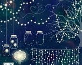Wedding Lights Clip Art - Vector String Lights, Firefly Clipart, Wedding Party Lights, Lantern Lights EPS - Instant Download
