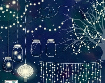 Wedding Lights Clip Art - Vector String Lights, Firefly Clipart, Wedding Party Lights, Lantern Lights EPS - Instant Download